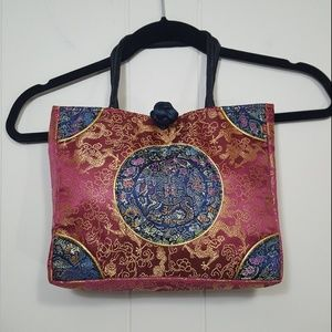 """Asian style bag red 10"""" x 8.25"""" dragon floral"""